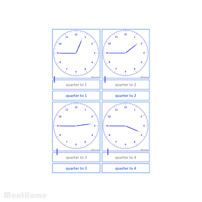 MH-SC12-E Clock cards quarter to