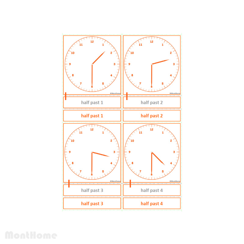MH-SC12-B Clock cards half past