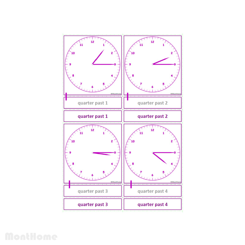 MH-SC12-D Clock cards quarter past
